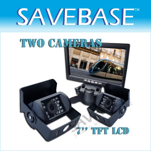 "CAR REAR VIEW KIT 7"" LCD MONITOR+2X IR REVERSING CAMERA"