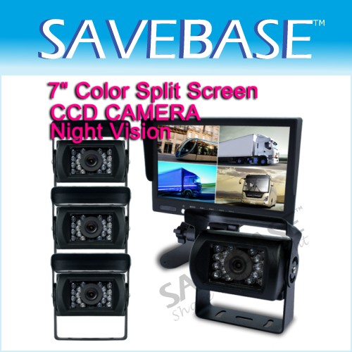 "4CH 7"" Rear View Monitor +4xCCD Waterproof Metal Trucks/Bus Reversing Camera"