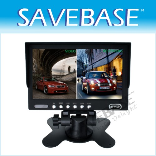7' On Dash Board Car Quad Split Monitor Front Side View