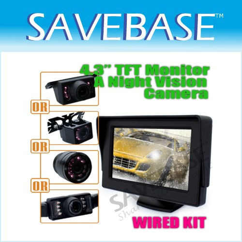 "4.3"" Car Reverse RCA AV TFT LCD Monitor Rear View Night Vision Color Camera"