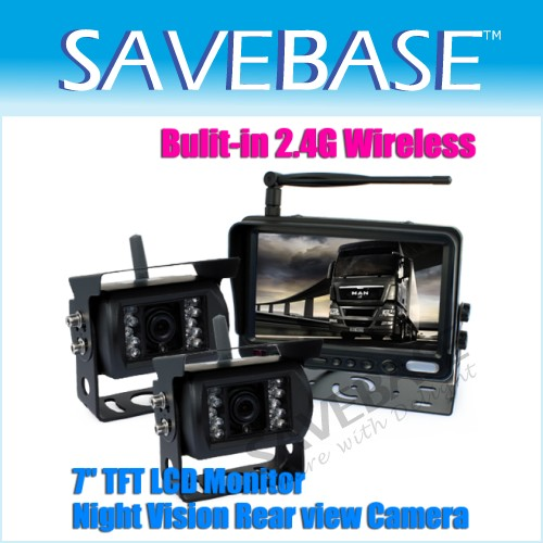 "7"" LCD WIRELESS REAR VIEW REVERSING KIT SYSTEM+2 CAMERA"
