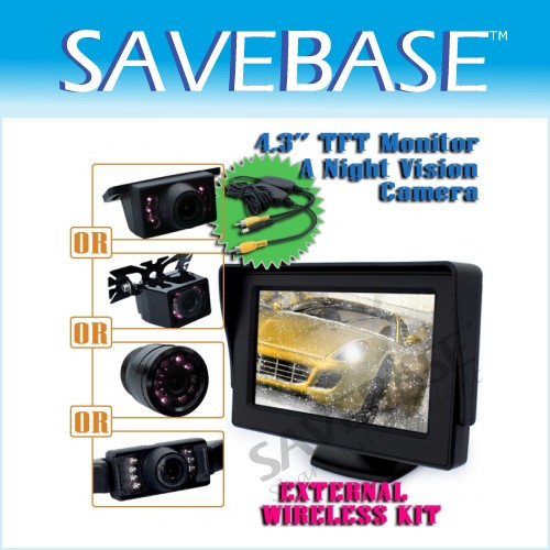 Wireless Car Reversing Rearview Monitor 4.3 Inch + Night Vision Parking Camera