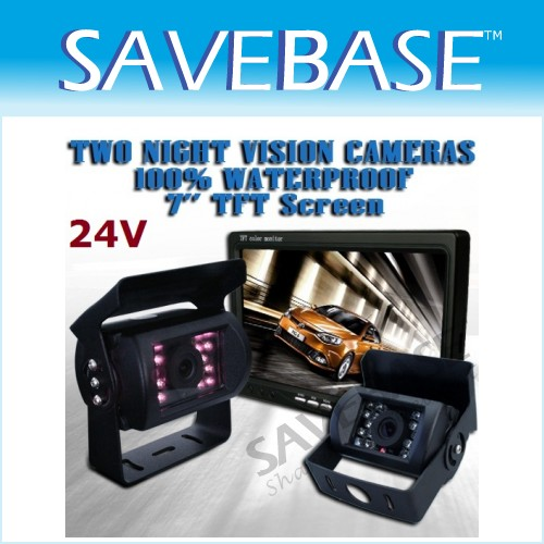 24V Reversing System Monitor+2 Cameras For HGV Rearview
