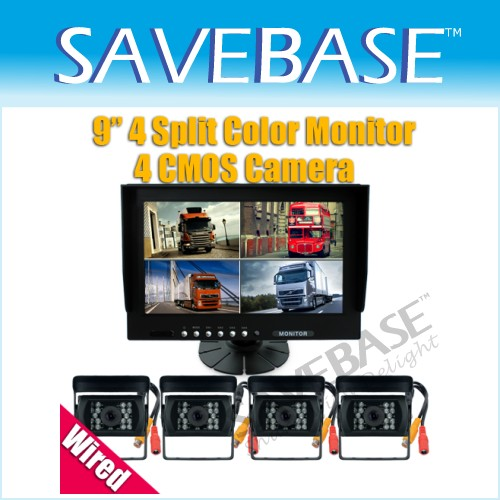 "9"" Car Rear View Kit QUAD Monitor + 4x Camera Reversing"
