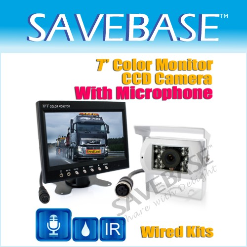 "IR MIC CCD Backup Camera Car Rear View Kit + 7"" TFT LCD"