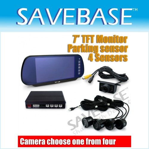 "IR Car Reversing Rearview Camera + 7"" LCD Monitor Mirror 4 Parking Sensors Kit"