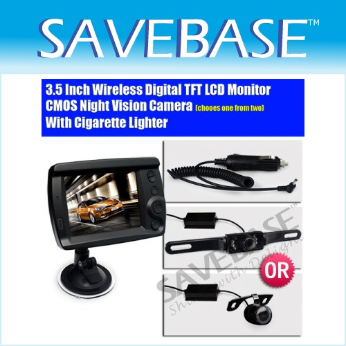 Wireless Car Rear View 3.5 Inch Monitor IR Reversing Camera Back Up Kit +Charger