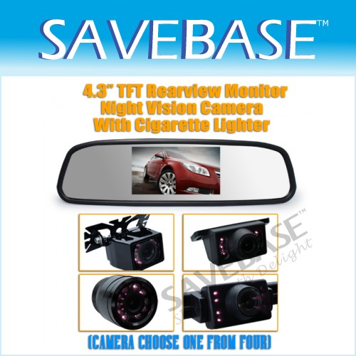 "Car 4.3"" Popular LCD Mirror Monitor 2 Video Channel + IR Reversing Camera Kit"