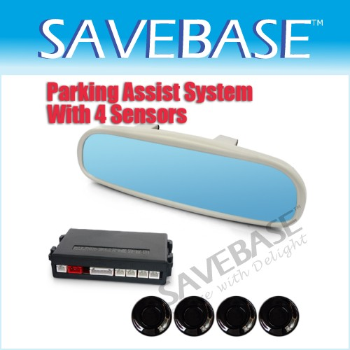 Non Glare Car Reversing Rearview 4 Parking Sensor LED Mirror Back Up Kit