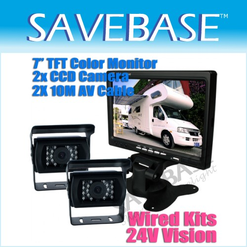 "24V Reversing System 7"" TFT Monitor + 2 CCD Cameras For HGV Rearview Backup Kit"
