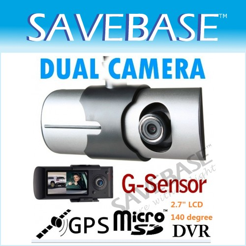 Vehicle Dash DVR Cam Video Recorder With Dual CMOS Cameras + Gravity Sensor