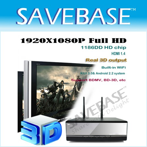 3D Movie Player 1080P HD WiFi Support BDMV/BD-3D/HDMI 1.4/Android 2.2/7.1 Sound