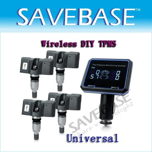 New Wireless Universal DIY TPMS Tire Pressure Monitor System 4 Sensors Kit Gauge
