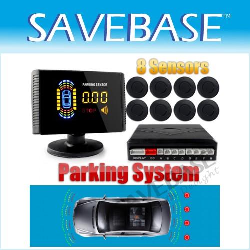 TOP! Kit Voiture Parking 8 Capteurs Noir Radars De Recul Buzzer LCD Affichage